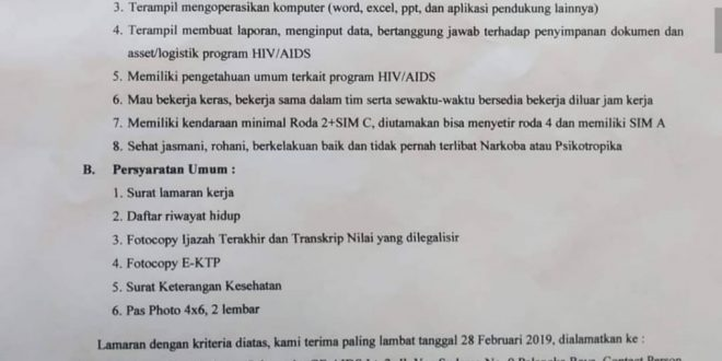 Pengumuman Rekruitmen Tenaga Administrator Program HIV/AIDS Dinas Kesehatan Provinsi Kalimantan Tengah