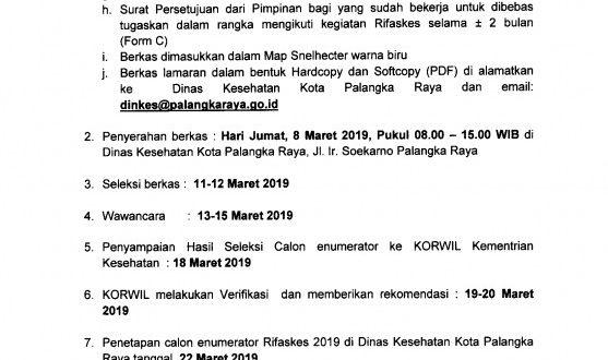Pengumuman Rekruitmen Enumerator Rifaskes (Riset Fasilitas Kesehatan) Tahun 2019