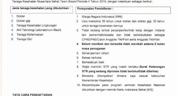 REKRUTMEN TENAGA KESEHATAN NUSANTARA TEAM BASED PERIODE II TAHUN 2019